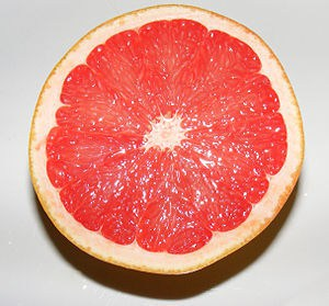 A grapefruit cut in half.