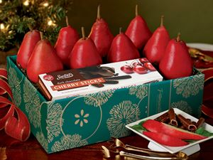 Red Pears with Raspberry Sticks