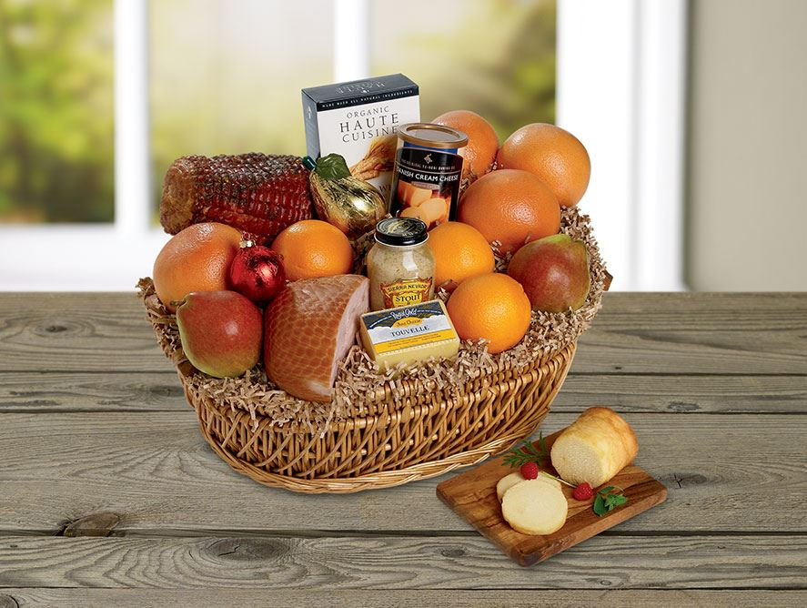 Family Gourmet Basket with a Boneless Smoked Peppered Ham and Turkey Breast