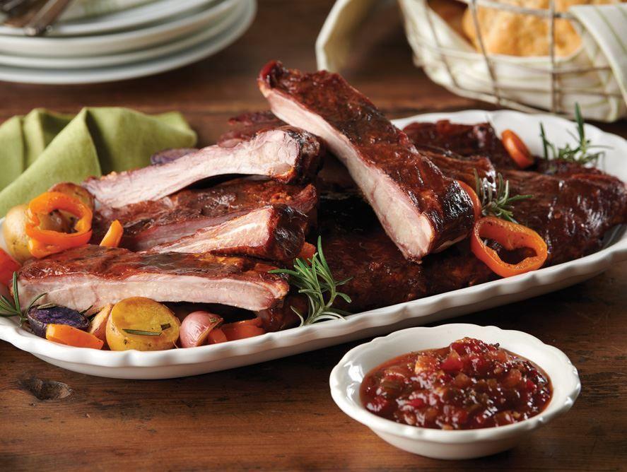 Smoked Pork Ribs W/Bacon Relish
